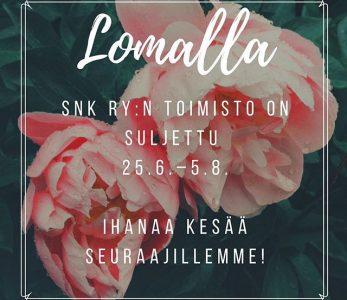 SNK ry:n toimisto kesätauolla 25.6.–5.8.