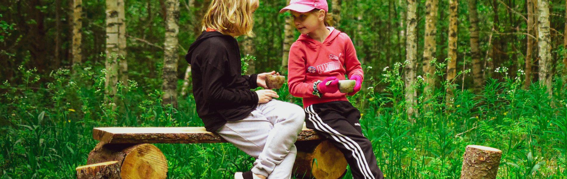 Tytöt mehutauolla metsässä.