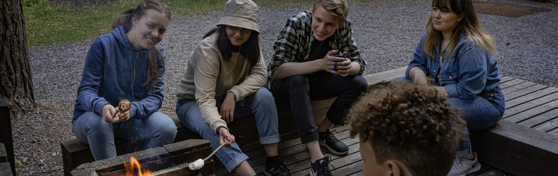 Viisi nuorta paistaa vaahtokarkkeja iltanuotiolla.