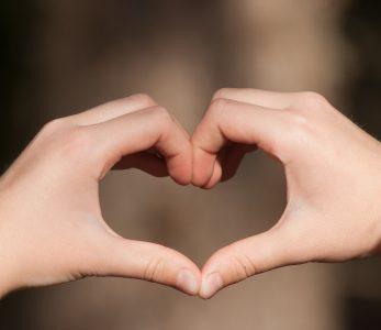 Käsillä tehty sydän puunrunkoa vasten.